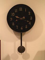 Vintage Black Ebony Oak 16 Round Wall Clock-Brass Numbers/ Band/Bronze Pendulum