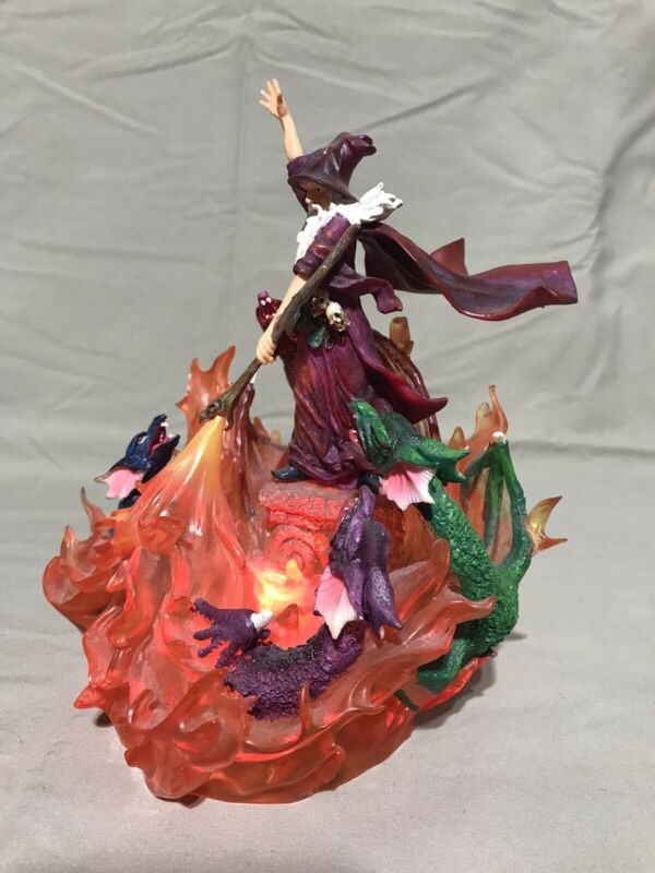 Wizard Lord of Dragons Statue - Color Changing Flame Fire Base, Figure