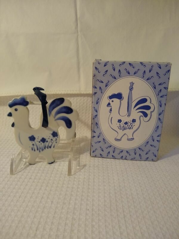 Olde Towne Ceramic Accents Rooster Chicken Russ Delft in Box New Old Stock