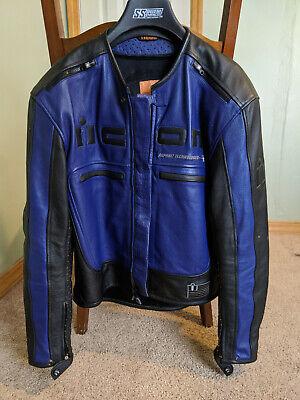 Icon Motorhead Leather Jacket XL Blue