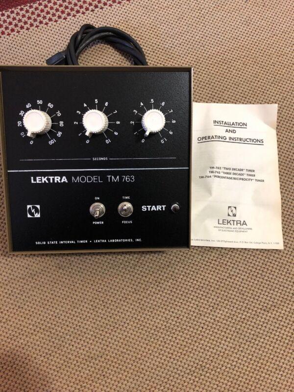 """Vintage Lektra Electronic Interval Darkroom """"two decade"""" Timer Model TM 763"""