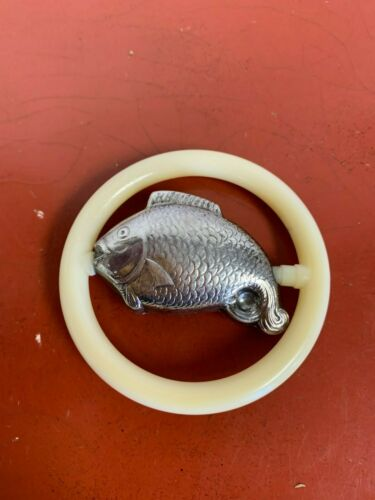 Vintage Silver Plated Fish Baby Rattle Teether  Unmarked Hollow