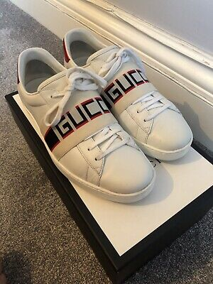 GENUINE Mens White Gucci Ace Trainers With Stripe Size 9.5