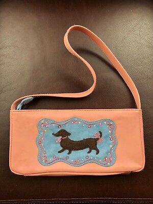 Dachshund Purse Handbag Pink Faux Leather with Doxie Applique  for sale  Tualatin