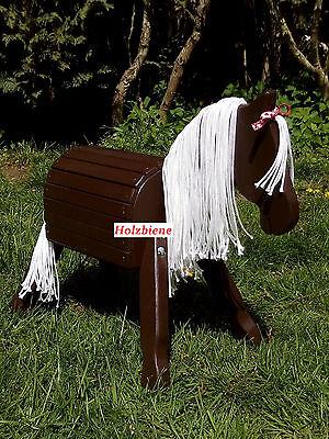 Holzpferd, Holzpony, Pony,  34cm Stockmaß, dunkelbraun,  *NEU*