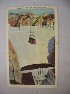 VINTAGE LINEN POSTCARD LOWERING A LOADED BOX CAR AT BOULDER DAM, NEVADA 1939