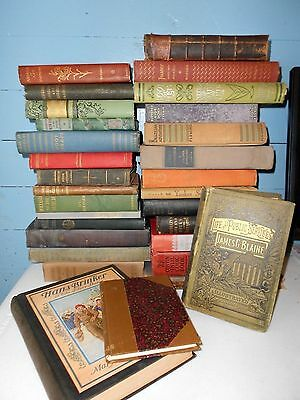 Lot of 10 UNSORTED GREAT MIX ANTIQUE Vintage Books Collectible 1800's 1900's