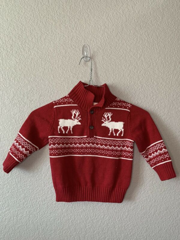 Gymboree Baby Boy 12-18 Month Red & White Fair Isle Christmas Reindeer Sweater