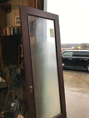 An 517 Antique Frosted Glass Entrance Office Door 32 X 85.75 X 1 5/8