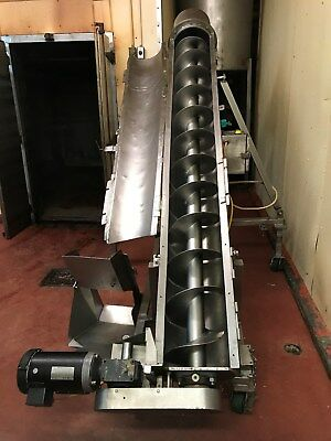 Conveyor Auger Incline 13 X 9 Diam. Usda Stainless Steel Infeed Hopper 617c