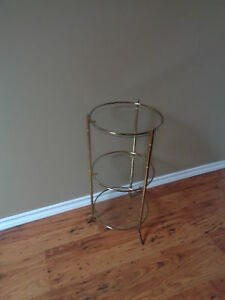 Brass glass 3 tier accent table