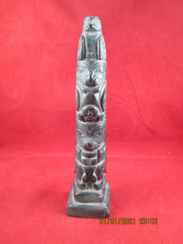 """Abbott Pacific Northwest Totem Pole Canada Carved Soapstone with flaw 10"""" Tall"""