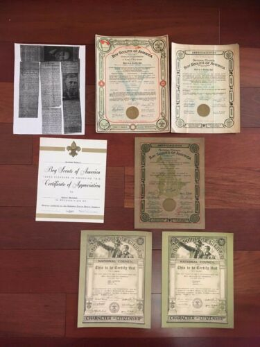 EARLY VINTAGE LOT OF BOY SCOUTS OF AMERICA CERTIFICATES