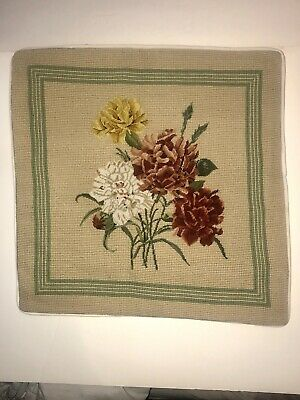"""16"""" X 16"""" Handmade Wool Needlepoint Petit Point Pillow / Cushion Cover ~ Floral"""