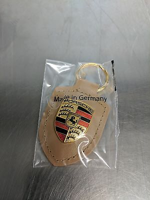 OEM Genuine Porsche Biege Crest Leather Key Ring WAP0500980H