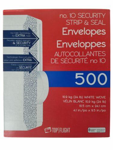 Top Flight No.10 Security Strip & Seal Envelopes 4.1x9.5 in - 500ct
