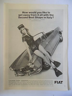 1966 Print Ad Fiat 1500 Spider Sports Car Coupe ~ Second Best Shape Italy