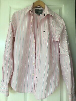 Abercrombie & Fitch long sleeve shirt mens pink white stripe Small S