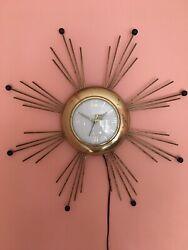 Vintage Mid Century Lux UNITED Starburst Atomic Wall Clock Electric Works