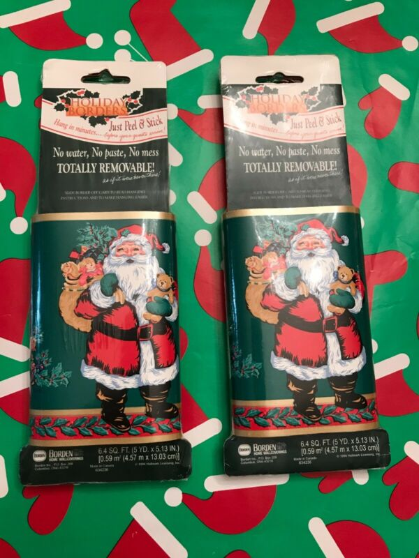 NEW 1994 Vintge HALLMARK Holiday Borders Christmas Home Wallcovering Santa Claus