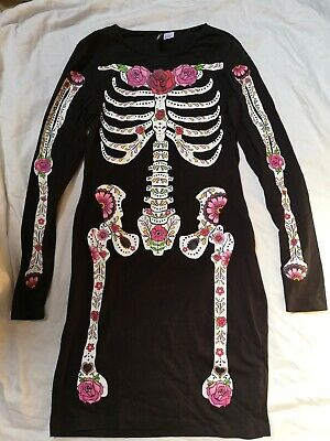 H&M Divided 38 Damen Langarmshirt Kleid schwarz Skelett Halloween - Skelett Kleid Kostüm