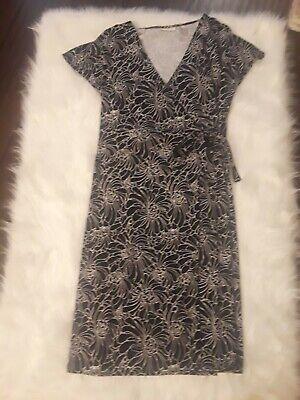 M Stevens Wrap (VALERIE STEVENS Black/White Wrap Dress Size M Medium)