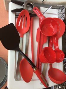 Kitchenware steel and red baking