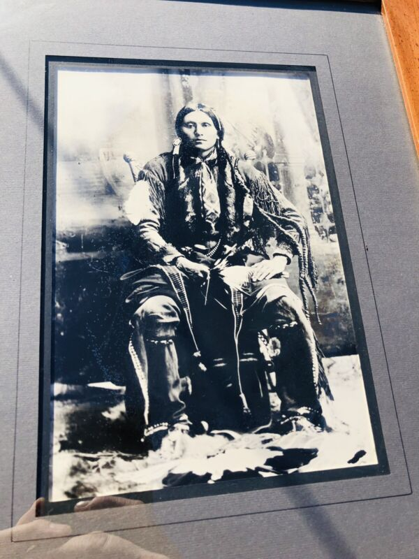 Antique Original Native American Photograph Framed And Matted