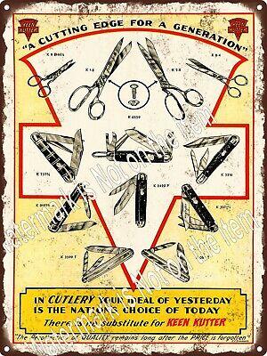 1935 Keen Kutter Pocket Knife Knives Barber Scissors Metal Sign 9x12 A560