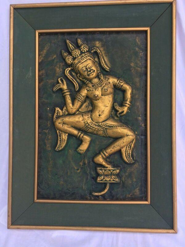 Siam Dancer, Angkor Wat Temple Rubbings, Cambodia, Framed, Pre-Govt. Prohibition