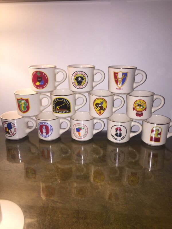 Vintage Boy Scouts Of America Coffee Cup Mugs Region Complete Set Of 12 Horse