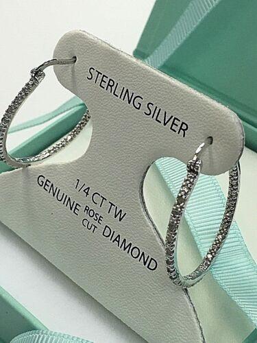 1/4CT GENUINE DIAMOND 925 STERLING SILVER BEAUTIFUL HOOP EARRINGS $150 NEW Gifts
