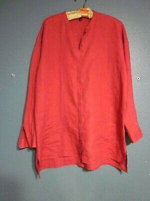 Eileen Fisher M Oversize LS ButtonUp Organic Linen Slouchy Blouse Darkest Peach