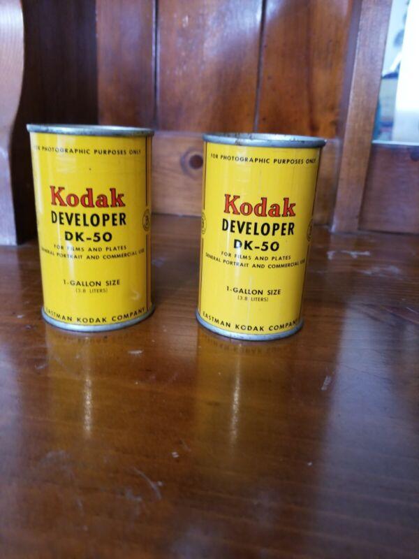 LOT OF 2 VINTAGE UNOPENED KODAK DEVELOPER ADVERTISING TINS, DK-60A & DK-50