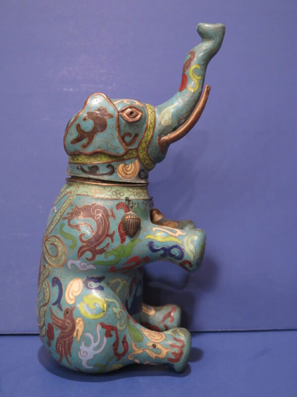 Antique Chinese Cloisonne Elephant Tea Caddy Early 20th Century