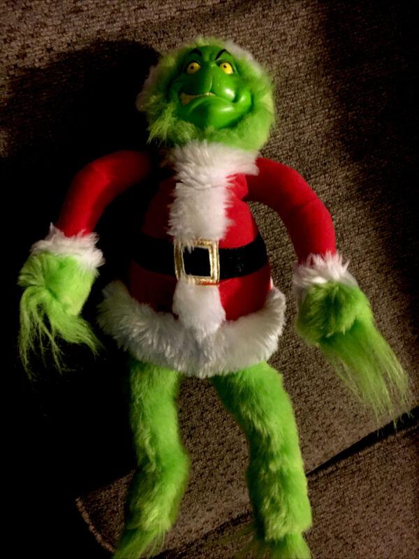 "Dr. Seuss Grinch Who Stole Christmas Movie 15"" Santa Grinch Plush Doll Toy 2000"