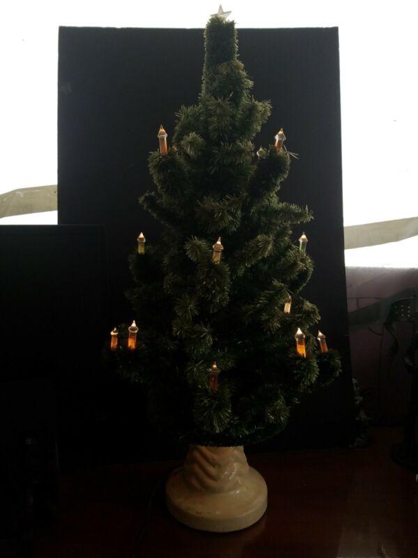 "Vintage Christmas tree, glolite viscos 26"" all working lites  plaster base"