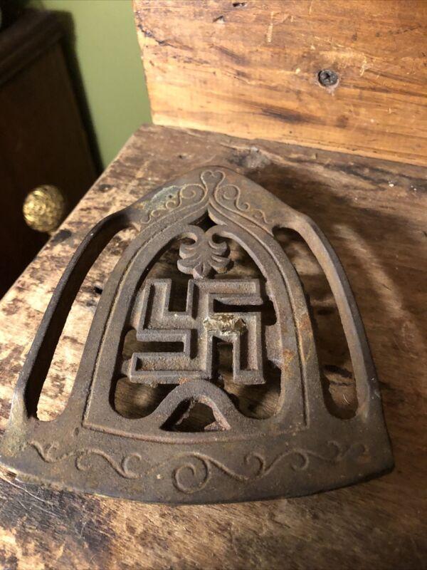 RARE Vintage  Cast Iron Trivet press iron w/ Native American symbol