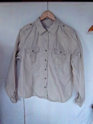 L.L.BEAN - Women's Khaki Beige Cotton Poplin Field Shirt -- Size (Cotton Poplin Field Shirt)