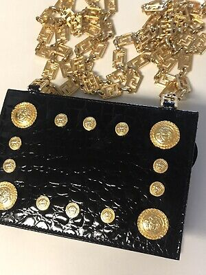 Rare! Vintage Gianni Versace Croc Embossed Moc Medusa Gold Hardware 92 Mini Bag