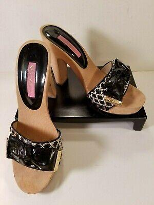 Betsey Johnson Wood Platform Vintage Clog Sandals Black & White Sz 7.5