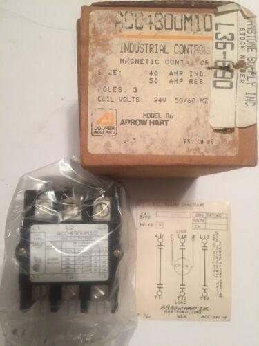 Arrow Hart ACC430UM10 Industrial Control Magnetic Contactor 24V Model 86 **NEW**