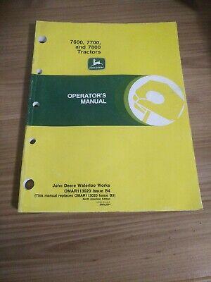 John Deere 7600 7700 7800 Tractors Operators Manual Issue B4