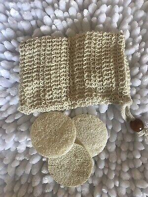 Loofah Disc Sponge And Soap Saver Pouch / Face Exfoliant Pouch Face Dead Skin