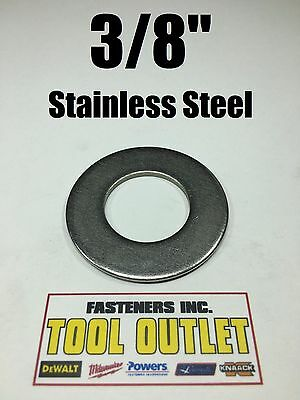 "(100) 3/8"" Stainless Steel Flat Washers (18-8 Stainless) 7/8"" OD / .050 Thick"