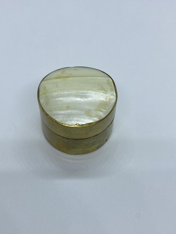 Vintage Mother Of Pearl Brass Pill Box