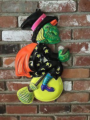 Cool Vintage Witch Hanger Halloween Decoration Plastic 1970's Excellent!