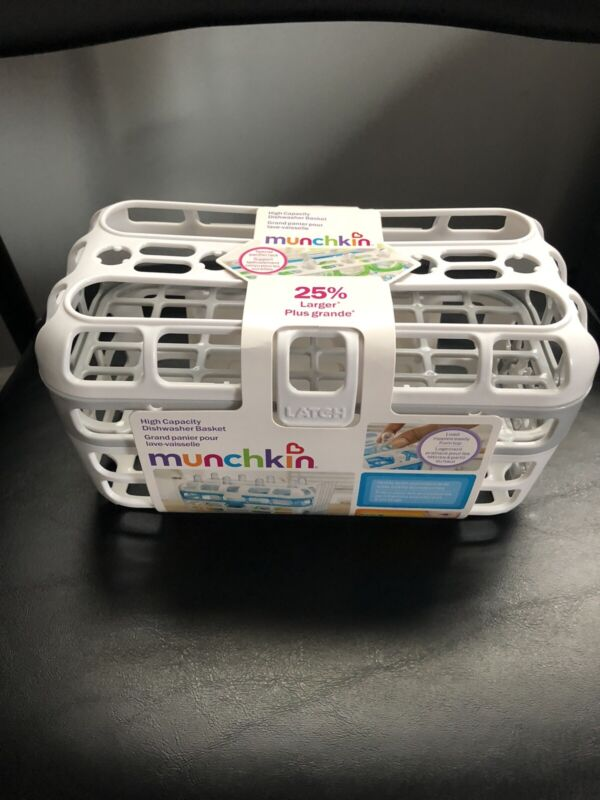 Munchkin High Capacity Dishwasher Basket, 1 Pack, Grey and White Brand New