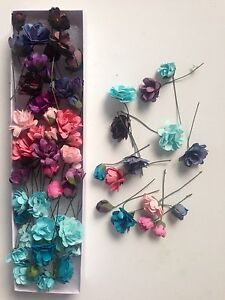 45 Craft Paper Flowers In A Box ~  3 Tones Colours..Pink, Purple And Blue