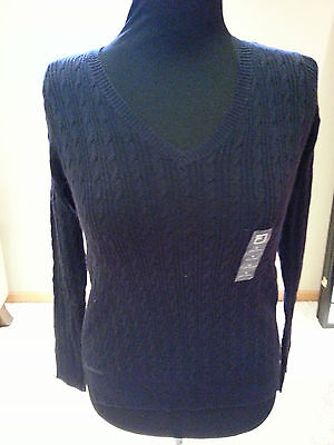 Women Ladies Navy Blue Sweater Shirt Size S By Jcp Nwt Free Ship